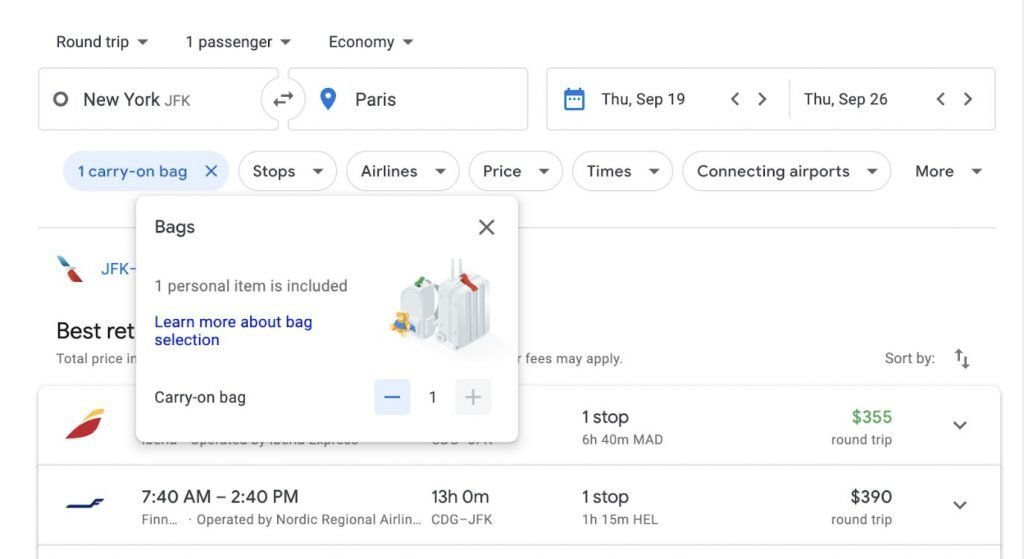 google flights 1024x559 - How Some Budget Airlines Force Customers To Pay up to $800 in Bag Fees At The Last Minute
